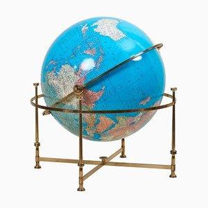 Grand Globe Vintage Illuminé avec Support en Laiton, 1970s
