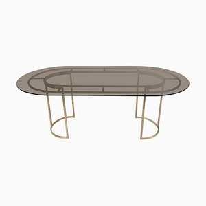 Large Brass and Glass Dining Table by Romeo Rega, 1970s