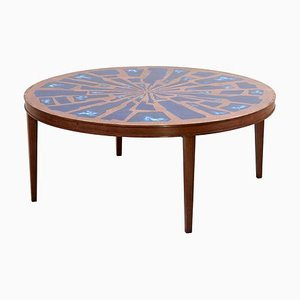 Wood Coffee Table with Copper and Enamel Style Top, 1970s