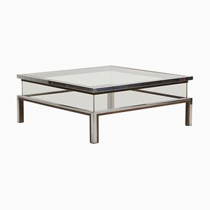 Sliding Top Coffee Table in Brass and Chrome by Maison Jansen, 1970s