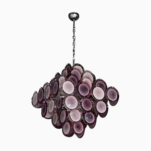Large Vintage Amethyst Color Murano Glass Disc Chandelier Attributed to Vistosi
