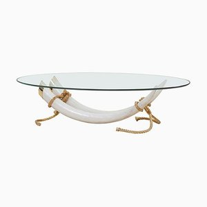 Monumental Faux Elephant Tusk Coffee Table Attributed to Maison Jansen, 1970s