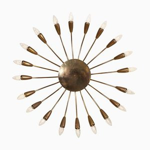 Large Brass Flush Mount or Wall Lamp Attributed to Stilnovo, 1950s