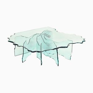 Large Crystal Cut Glass Shell Coffee Table by Danny Lane for Fiam, 1980s