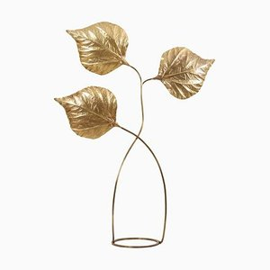 Large Three Rhubarb Leaves Brass Floor Lamp by Tommaso Barbi, 1970s