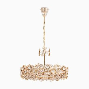 Brass and Crystal Glass Encrusted Model S101 Chandelier from Palwa, 1970s
