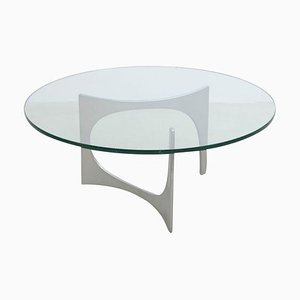 Aluminum and Glass Coffee Table by Knut Hesterberg for Ronald Schmitt, 1960s