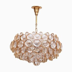 Gilded Brass and Crystal Glass Chandelier from Palwa, 1960s