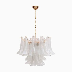 Large Murano Chandelier with Gold-Plated Base Chandelier from Venini, Italy, 1970s