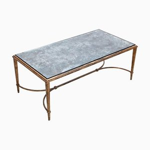 Silver-Plated Glass Coffee Table in Gold Leaf from Maison Ramsay, 1960s