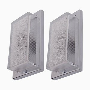 Architectural Bauhaus Wall Lamps in Glass and Nickel, 1920s, Set of 2