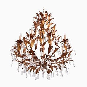 Large Gilt Metal and Crystal Glass Chandelier in the Style of Hans Kögl, 1960s