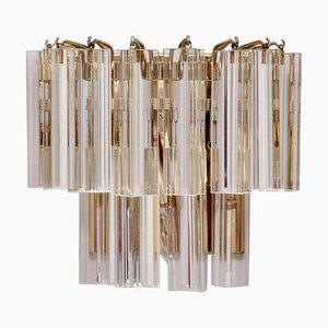 Murano Triedri Glas und Messing Wandlampe oder Wandlampe von Venini, 1960er