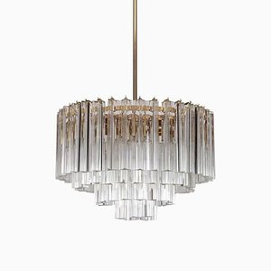 Large Murano Triedri Glass and Brass Chandelier from Venini, 1960s