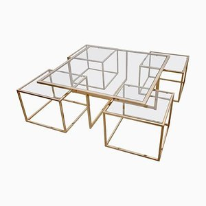Large Coffee Table in Brass with Nesting Tables from Maison Charles, 1960s, Set of 5