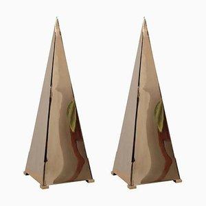 Grandes Lampes de Bureau Pyramide en Laiton, 1980s, Set de 2
