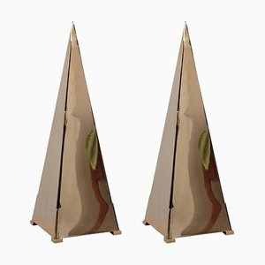Large Brass Pyramid Table Lamps, 1980s, Set of 2