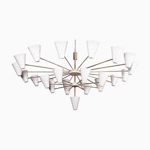 Brass with Adjustable Metal Shades Chandelier, 1990s