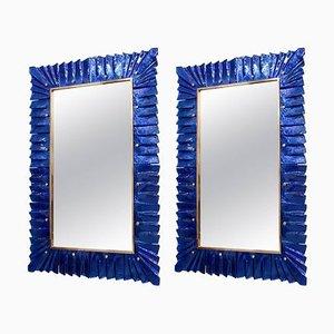 Grand Miroir en Laiton et Verre de Murano Bleu, 2000s