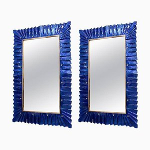 Large Brass and Blue Murano Glass Mirror, 2000s