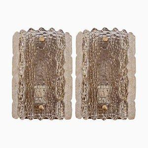 Messing Wandlampen aus gelblichem Glas von Carl Fagerlund für Lyfa und Orrefors, 1960er, 2er Set