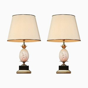 French Table or Console Lamps with Travertine Ostrich Egg, 1970s, Set of 2