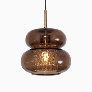Pendant Lamp in Brown and Bubble Glass by Carl Fagerlund for Orrefors, 1960s