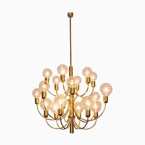 Large Brass Chandelier in the Style of Sciolari, 1970s