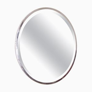 French Art Deco Round Nickel-Plated Mirror, 1930s