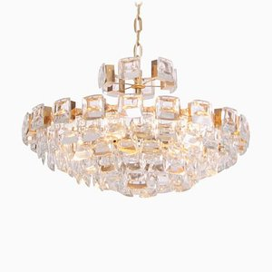 Gilded Brass and Glass Jewel Chandelier from Palwa, 1960s