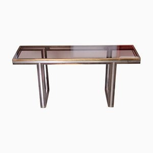 Large Brass and Chrome Console Table by Romeo Rega, 1970s