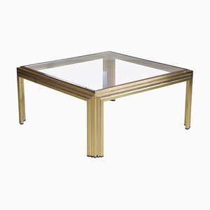 Coffee Table in Brass and Chrome by Romeo Rega, 1970s