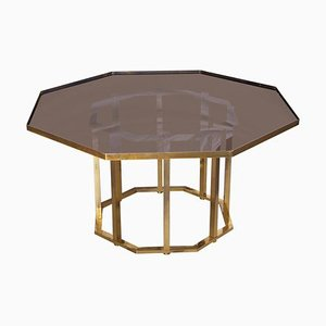 Large Octagonal Coffee Table in Massive Brass from Maison Jansen, 1960s
