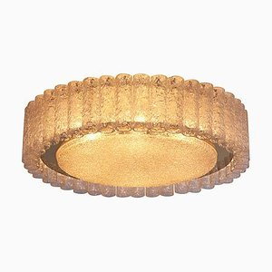 Large Glass Flush Mount or Sconce with Brass Surround from Doria Leuchten, 1960s