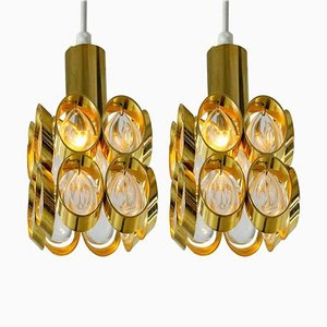 Brass and Glass Pendant Lamps, Austria, 1950s, Set of 2