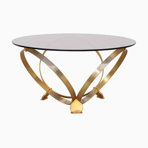Round Brass Geometric Rings Coffee Table with Glass Top by Knut Hesterberg, 1970s