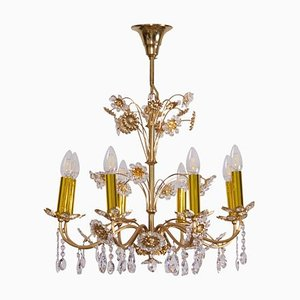 Large Gilded Brass and Glass Flower Chandelier from Palwa, 1960s