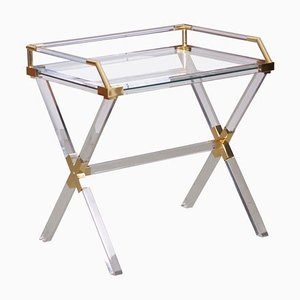 Lucite and Brass Bar Table by Charles Hollis Jones, 1970s