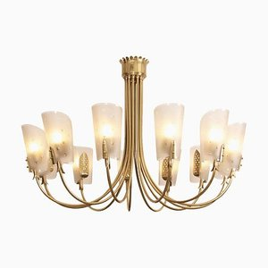 Large Italian Brass Chandelier with 12-Arms, 1960s