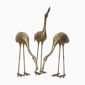 Large Brass Flamingos or Cranes, 1970s, Set of 3