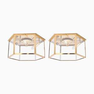 Deckenlampen oder Lampenfassungen aus Messing und Glas von Deutsche Bibliothek, 1960er, 2er Set