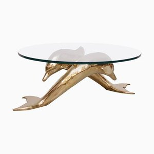 Brass Coffee Table in Shape of Two Dolphins, 1970s
