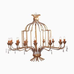 Large Gilded Metal Chandelier from a Villa in France, 1960s