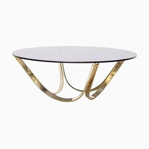 Brass and Smoked Glass Coffee Table by Tri-Mark, 1970s