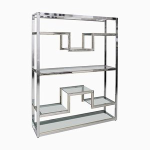 Etagere in Chrome and Brass by Guy Lefevre, 1970s