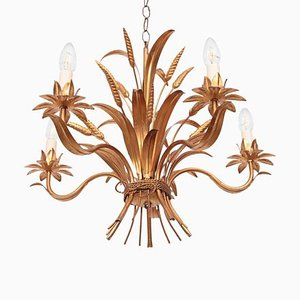 Chanel Style Florentine Chandelier in Brass with Gold-Finish, Italy, 1970s