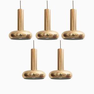 Lampes à Suspension Modernes en Laiton avec Patine Authentique, Danemark, 1960s