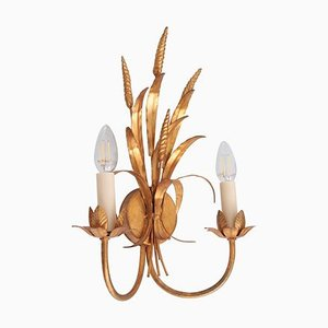Coco Chanel Style Florentine Wall Lamp in Brass with Gold-Finish, Italy, 1970s