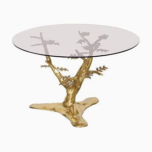 Brass Tree Sculpture Coffee Table with Round Glass Top, 1970s