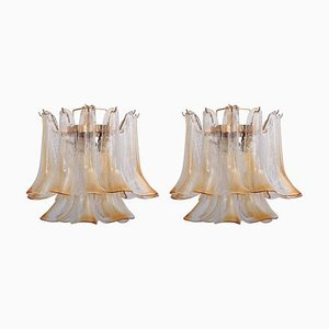 Murano Glass Chandeliers in Amber from Venini, 1960s, Set of 2